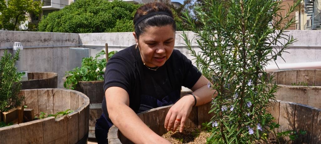 Head Chef Daph checks on the garden