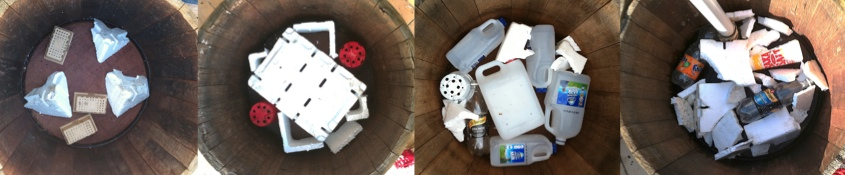 Some of the many different reservoirs for the wicking wine barrel planters